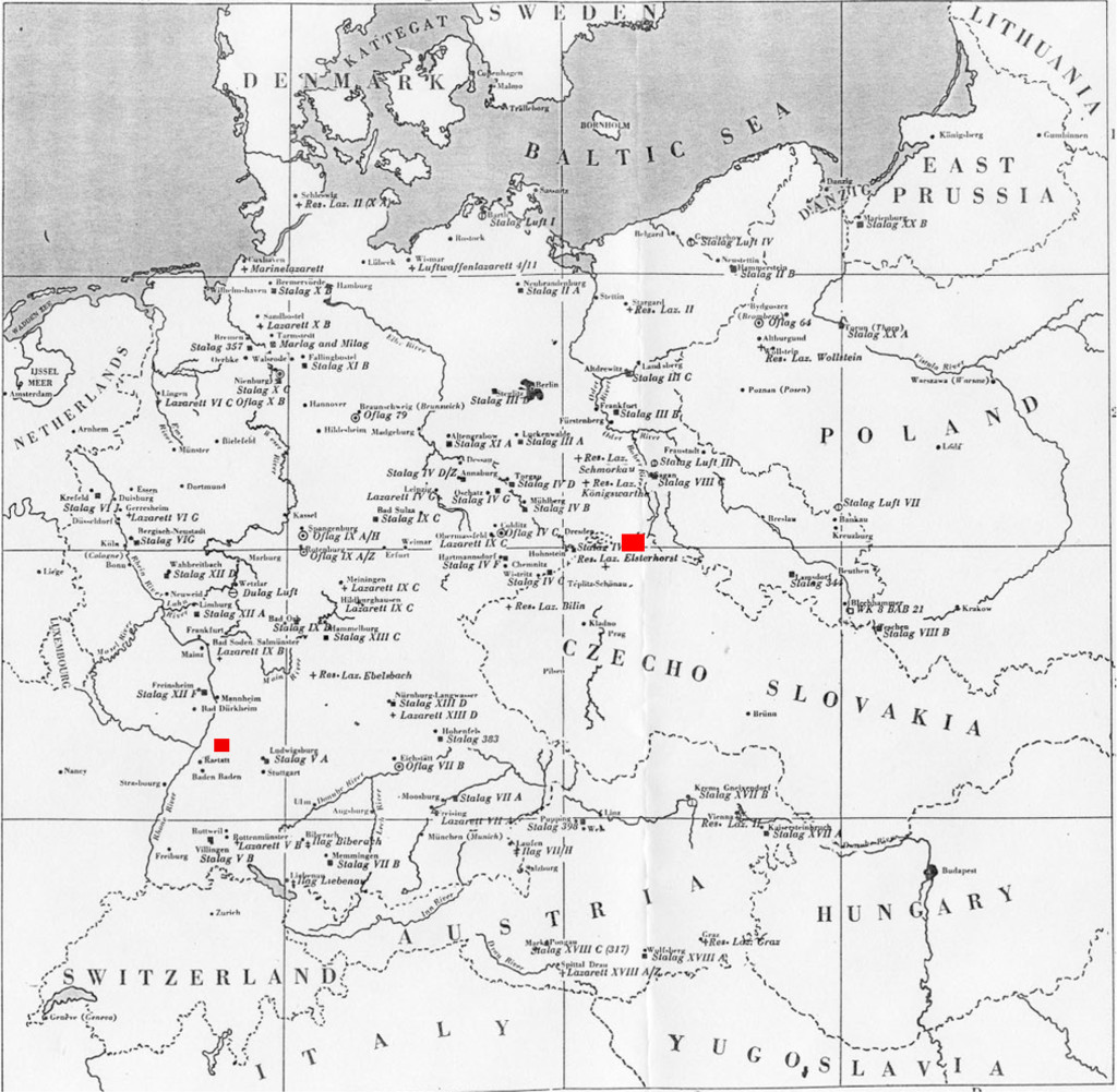 Map of POW Camps in Germany